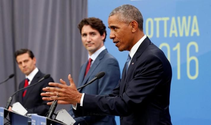 Mexican President Enrique Pena Nieto, Canadian Prime Minister Justin Trudeau and U.S. President Barack Obama take part in a news conference during the North American Leaders' Summit in Ottawa